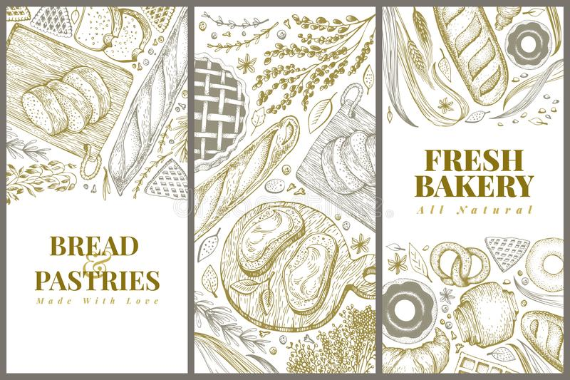 Bakery top view design templates. Hand drawn vector illustration with bread and pastry. Retro illustrations set. Can be. Bakery top view design templates. Hand stock illustration
