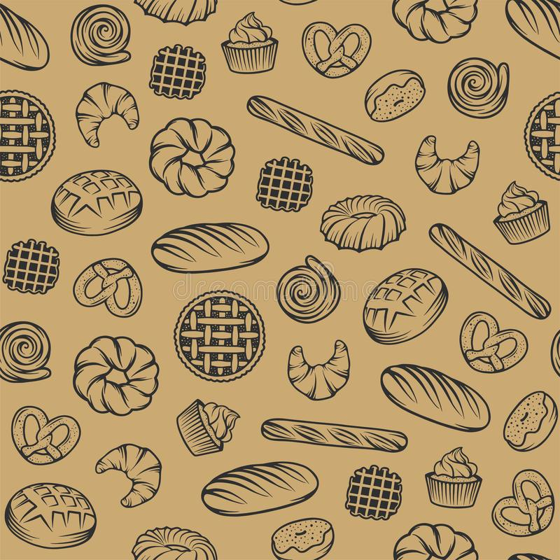 Bakery vector seamless pattern with engraved elements. Background design with bread, pastry, pie, buns, sweets, cupcake. stock illustration