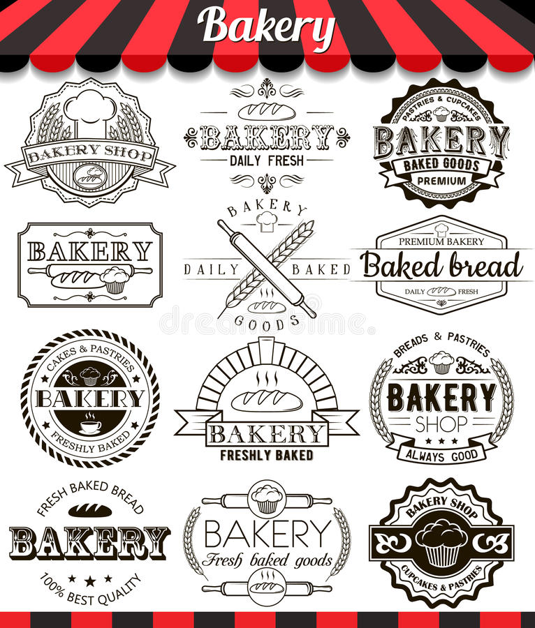 Bakery vintage design elements and badges set. Collection of vector baked goods signs, symbols and icons stock illustration