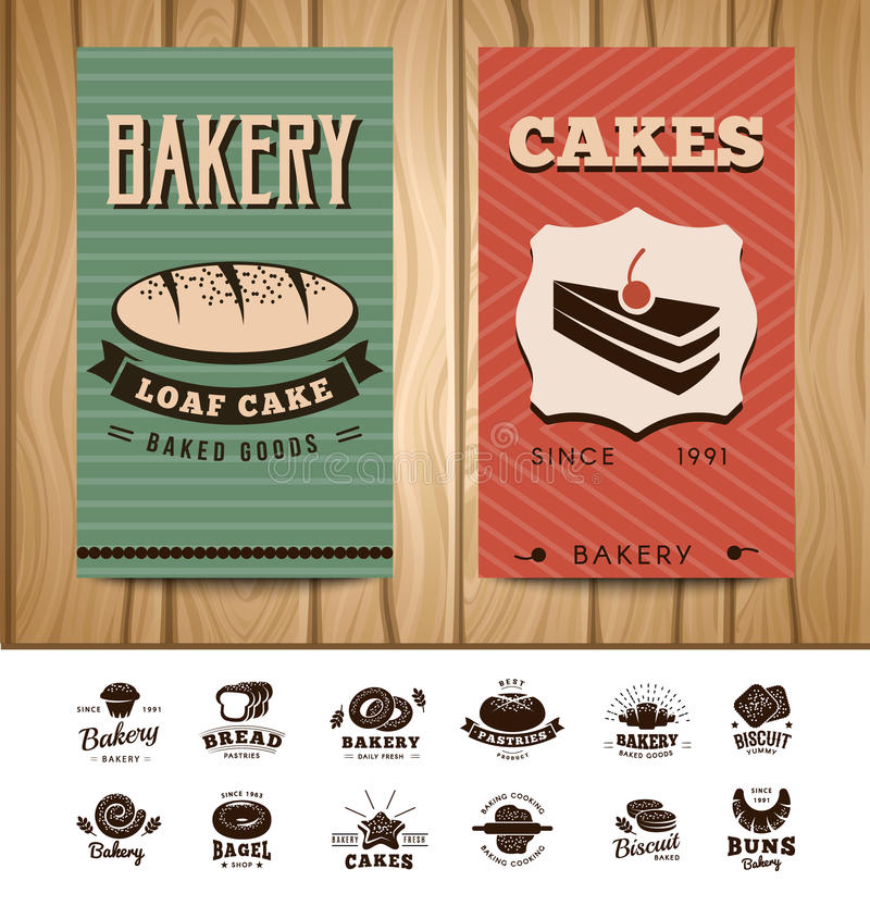 Bakery Visit Cards vector illustration