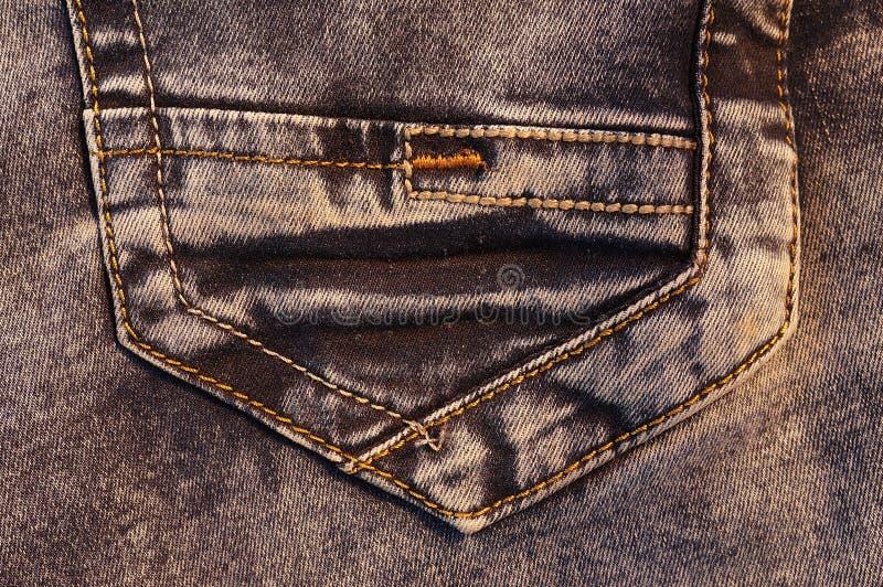 Bakficka av brun jeans royaltyfria foton