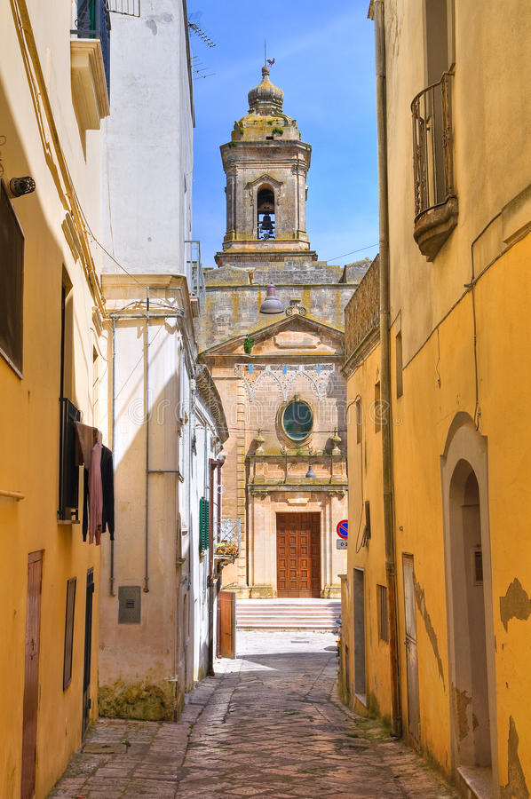 Bakgata. Montescaglioso. Basilicata. Italien. arkivfoto