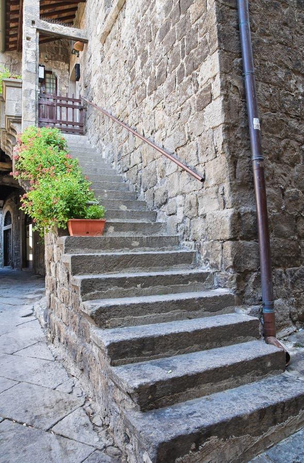 Bakgata. Viterbo. Lazio. Italien. royaltyfri fotografi