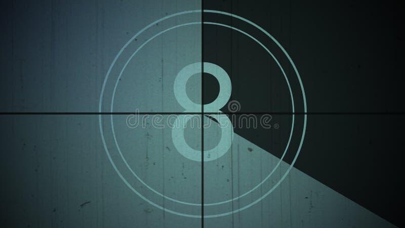 Bakgrund åtta för nummer 8 för filmtappningnedräkning arkivbild