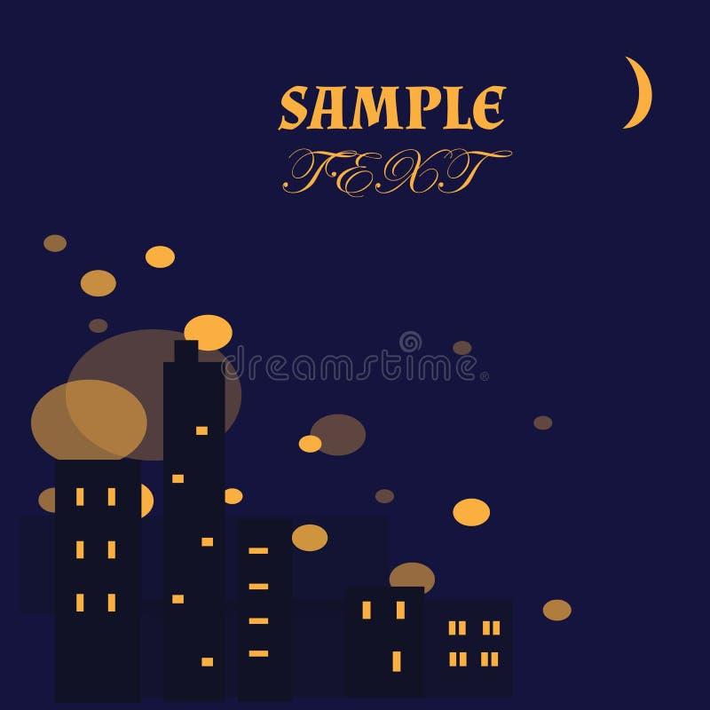 Bakgrund-abstrakt begrepp-stad-natt-ljus stock illustrationer