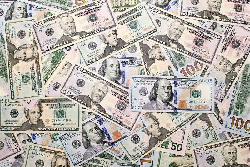Bakgrund av amerikanska dollarsedlar arkivbild