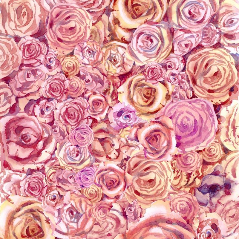 Bakgrund av blommor av rosor i vattenfärg stock illustrationer