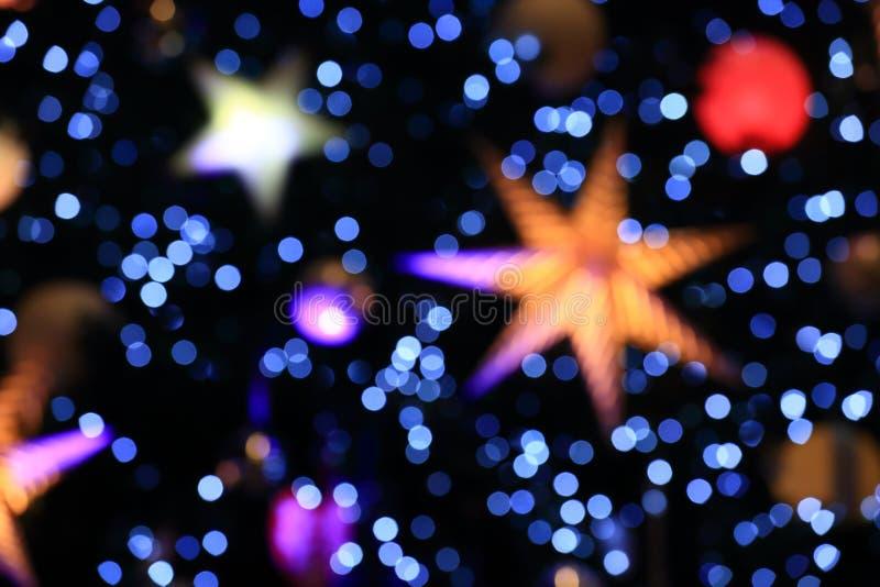 Bakgrund av Bokeh från julljus arkivbilder