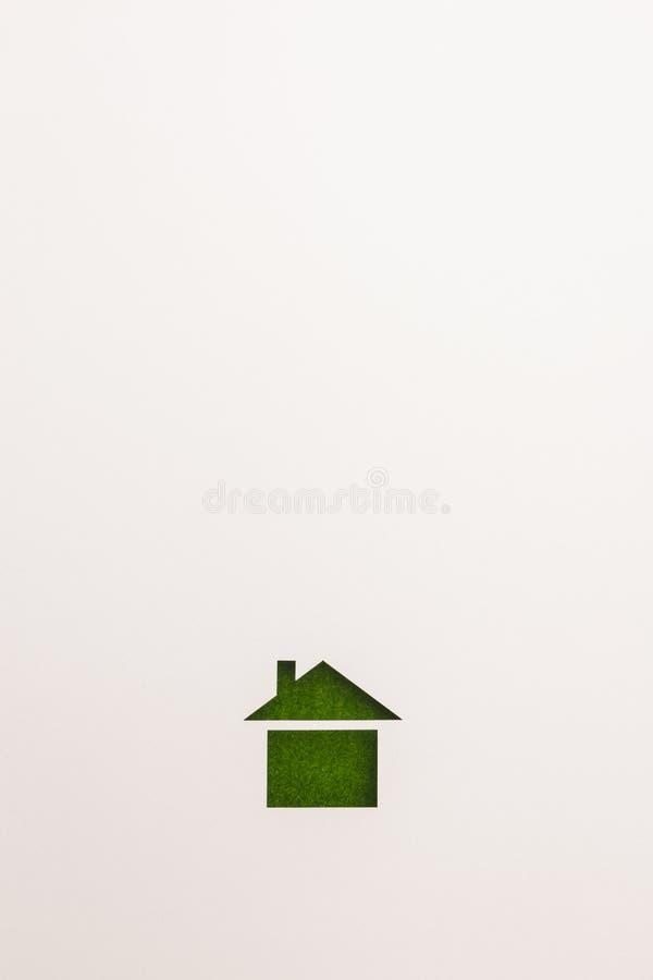 Bakgrund av den grundläggande hussymbolen för grön sammet royaltyfri foto