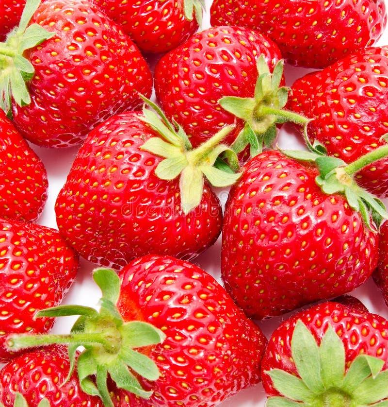 Bakgrund av den perfekta mogna jordgubben arkivfoto