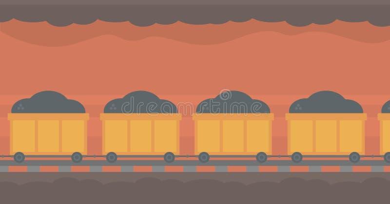 Bakgrund av den underjordiska tunnelen med att bryta vagnen vektor illustrationer