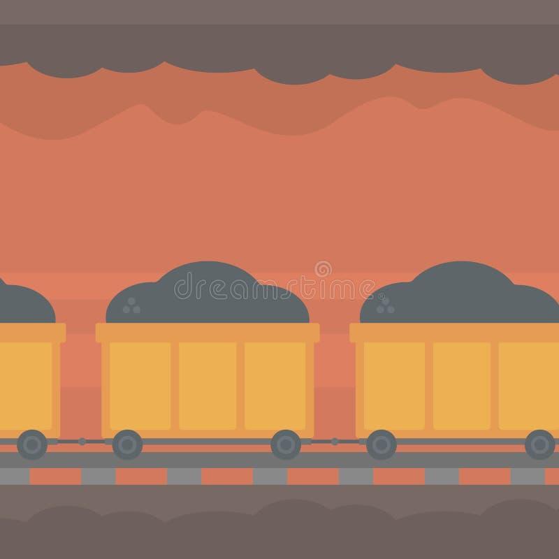 Bakgrund av den underjordiska tunnelen med att bryta vagnen royaltyfri illustrationer