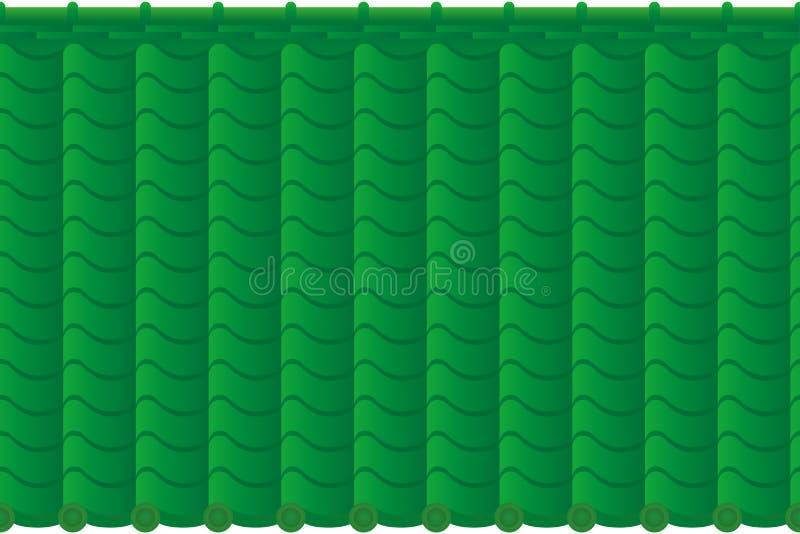 Bakgrund av det gröna belade med tegel taket stock illustrationer