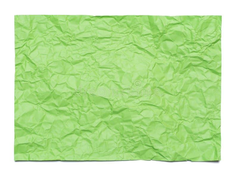 Bakgrund av det gröna skrynkliga arket av papper arkivbilder