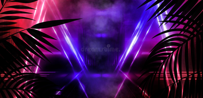Bakgrund av det m?rka rummet, tunnel, korridor, neonljus, lampor, tropiska sidor stock illustrationer