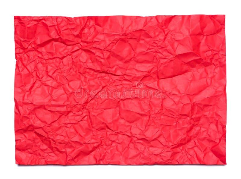 Bakgrund av det röda skrynkliga arket av papper fotografering för bildbyråer