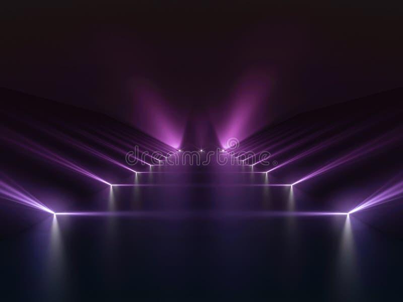 Bakgrund av det tomma mörka podiet med rosa och purpurfärgade ljus vektor illustrationer