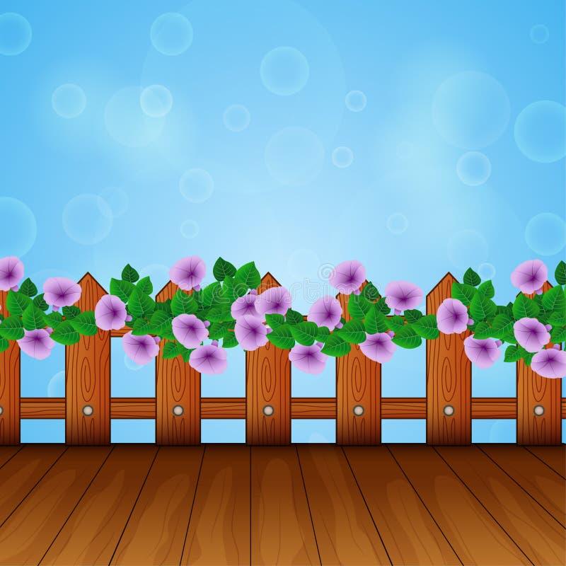 Bakgrund av en blommaram p? ett tr?staket stock illustrationer