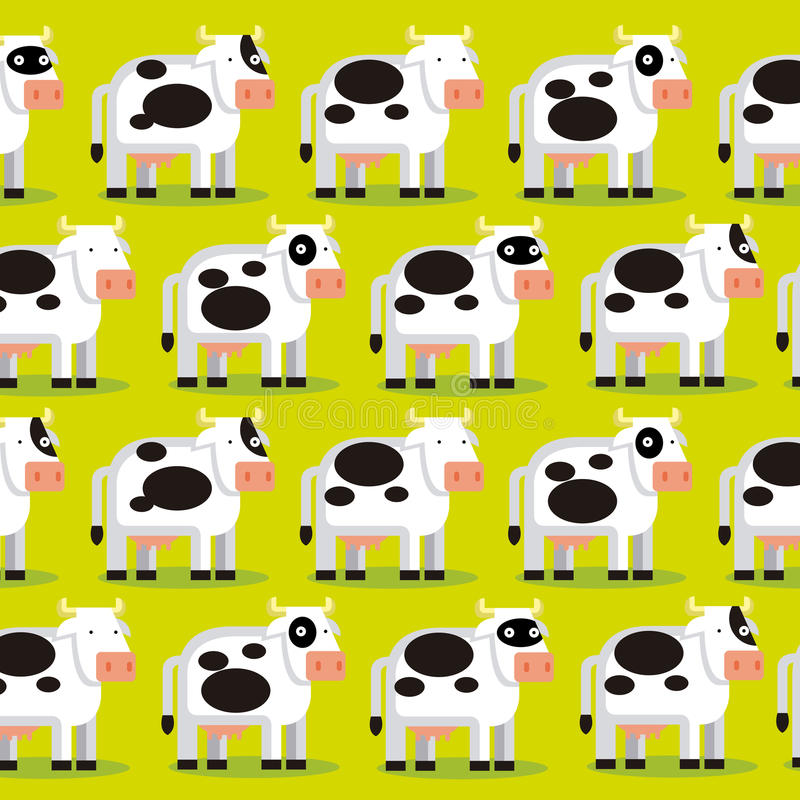 Bakgrund av en grupp av kor på ett fält stock illustrationer