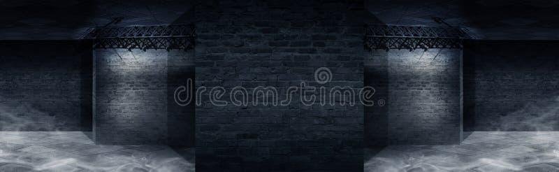 Bakgrund av en tom korridor med tegelstenväggar och neonljus Tegelstenväggar, neonstrålar och glöd stock illustrationer