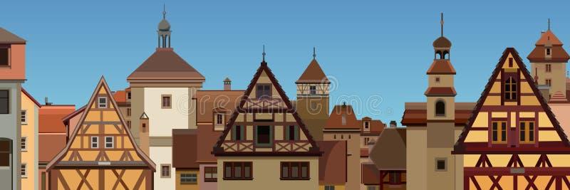 Bakgrund av en utdragen europeisk stad med halva timrade hus stock illustrationer