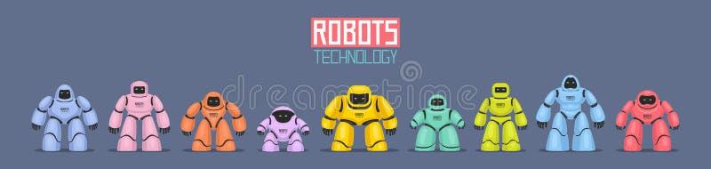 Bakgrund av färgrika olika robotar royaltyfri illustrationer