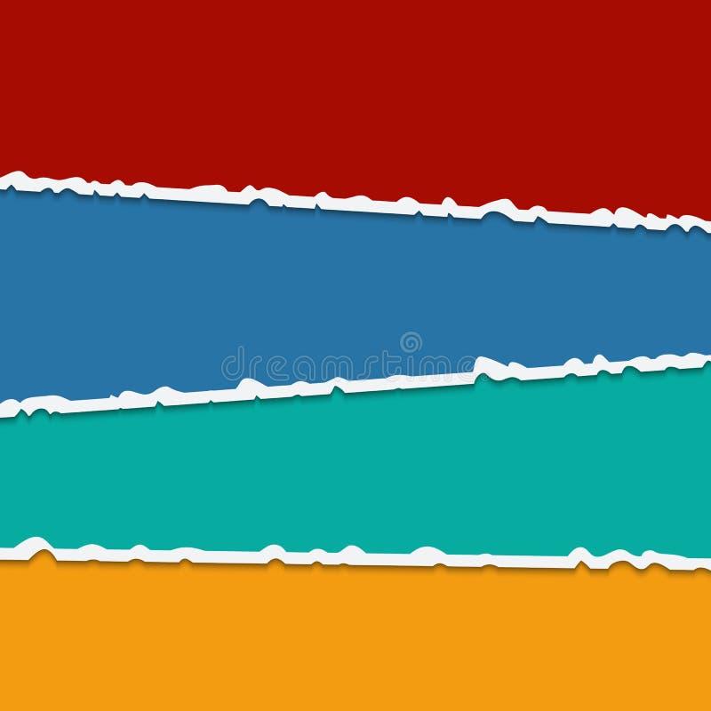 Bakgrund av färgrika sönderrivna pappers- baner för vektor med utrymme för stock illustrationer