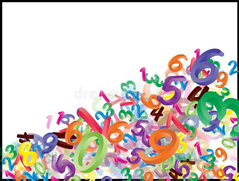 Bakgrund av fallande tecknad filmnummer, siffror Rolig, gladlynt och färgrik illustration för barn på vit bakgrund vektor illustrationer