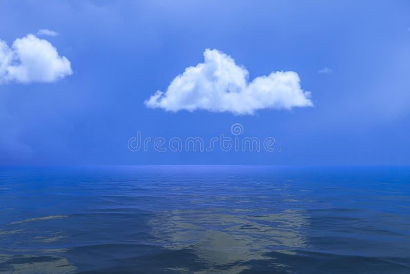 Bakgrund av himmel med ett enkelt moln reflekterade i vatten eller ocea arkivbild