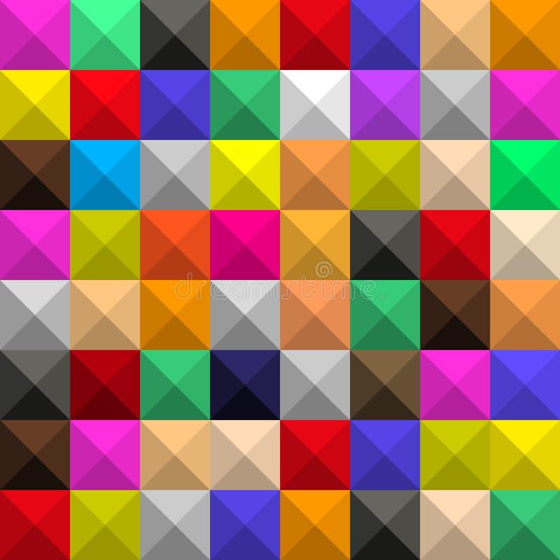 Bakgrund av identiska kul?ra fyrkanter med skuggor och framsidor, i form av en grafisk geometrisk volymetrisk mosaik royaltyfri illustrationer