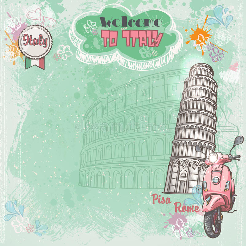 Bakgrund av Italien för din text med bilden av Colosseumen, det lutande tornet och rosa färger var nedstämd royaltyfri illustrationer