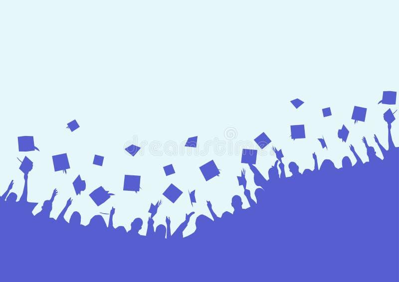 Bakgrund av konturer av folk som upp kastar hattförlage Lyckliga universitetkandidater stock illustrationer