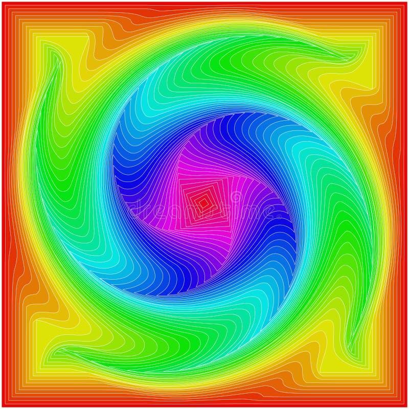 Bakgrund av kul?ra fyrkanter i form av en spiral vektor illustrationer