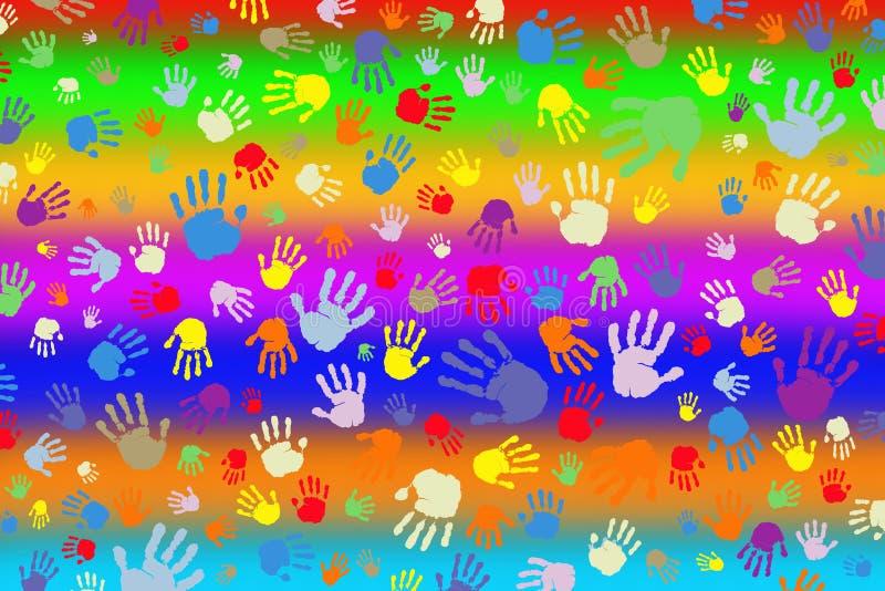 Bakgrund av många färgtryck av händer på en regnbågebakgrund vektor illustrationer