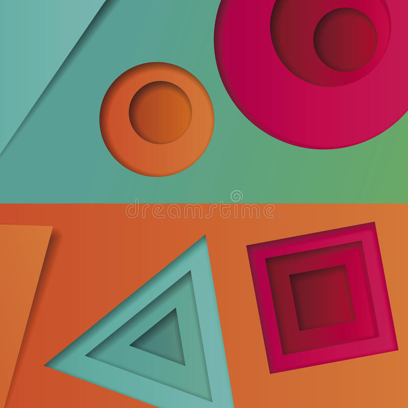 Bakgrund av mångfärgat abstrakt begrepp i stilen av den materiella designen med geometriska former av olika format Multilayer ci stock illustrationer