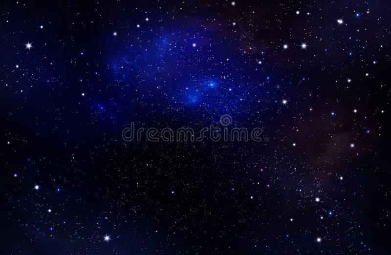 Bakgrund av natthimlen med stjärnor Djupt avstånd royaltyfri illustrationer