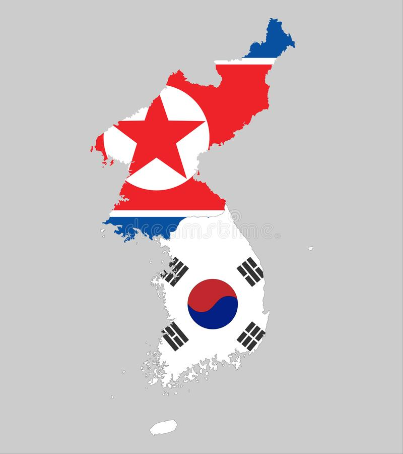 Bakgrund av norden och Sydkorean kartlägger och sjunker stock illustrationer