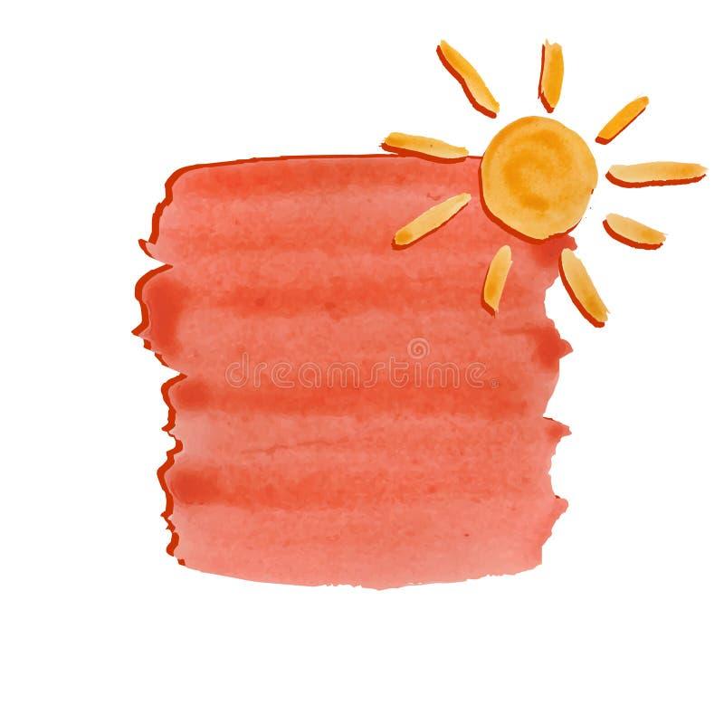 Bakgrund av orange vattenfärgborsteslaglängder, vattenfärgsol stock illustrationer
