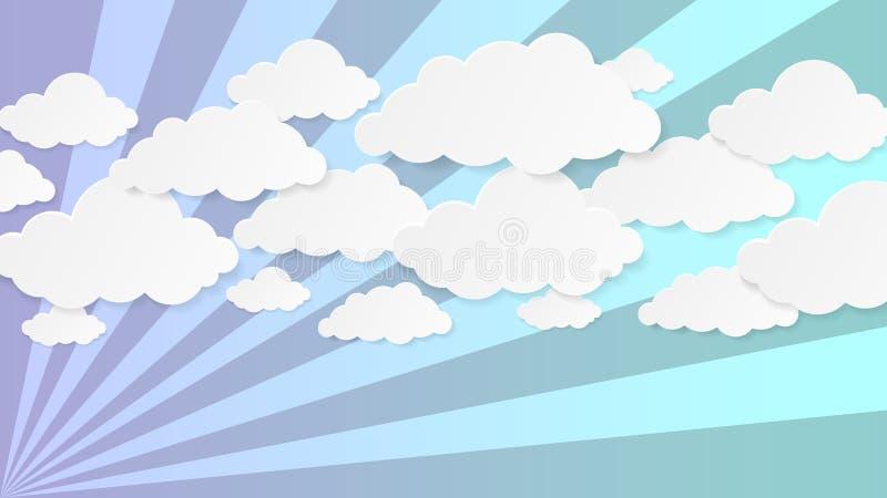 Bakgrund av pappers- moln Försiktiga stillhetsignaler Turkos-, violet- och gräsplanband royaltyfri illustrationer