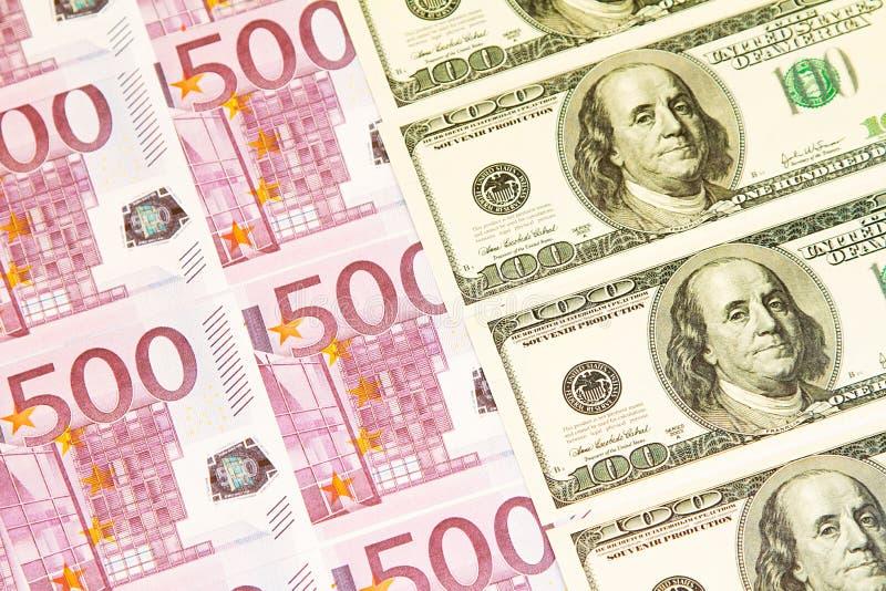Bakgrund av pengarna Euro och dollar finansiellt begrepp arkivbild