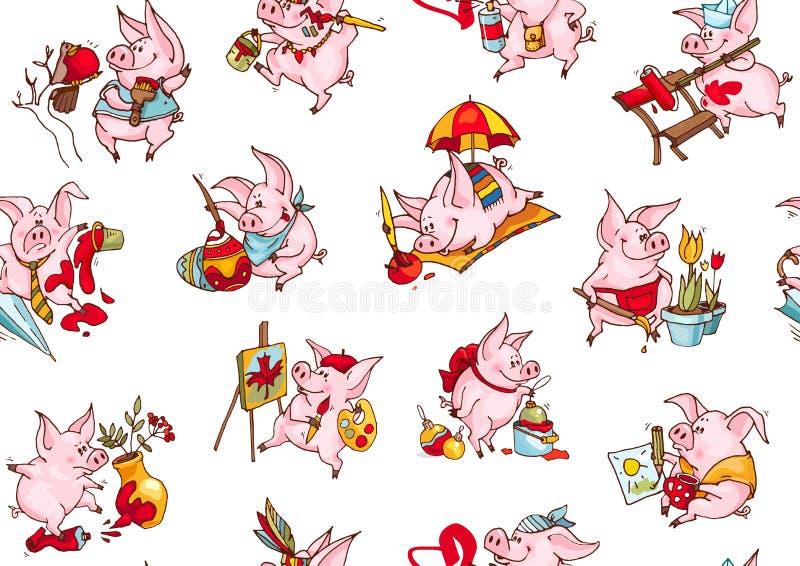 Bakgrund av roliga svin Sömlös modell av vektorillustrationer Rött boxas med pilbågen textil 2019 kinesiska nya år av svinet stock illustrationer
