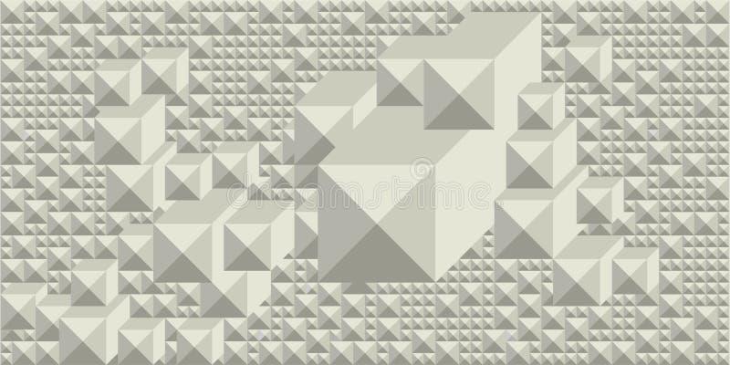 Bakgrund av skuggor av vit i form av en rektangulär grafisk geometrisk volymetrisk mosaik vektor illustrationer