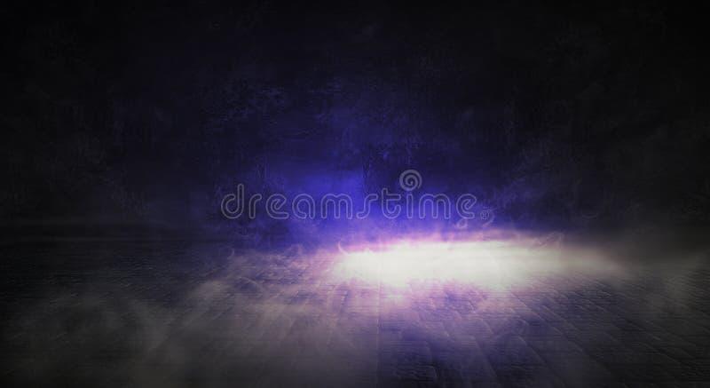 Bakgrund av tomt rum med tegelstenväggen och betonggolvet Rök dimma, neonljus fotografering för bildbyråer