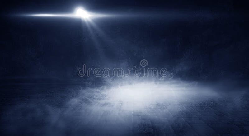 Bakgrund av tomt rum med tegelstenväggen och betonggolvet Rök dimma, neonljus arkivbilder