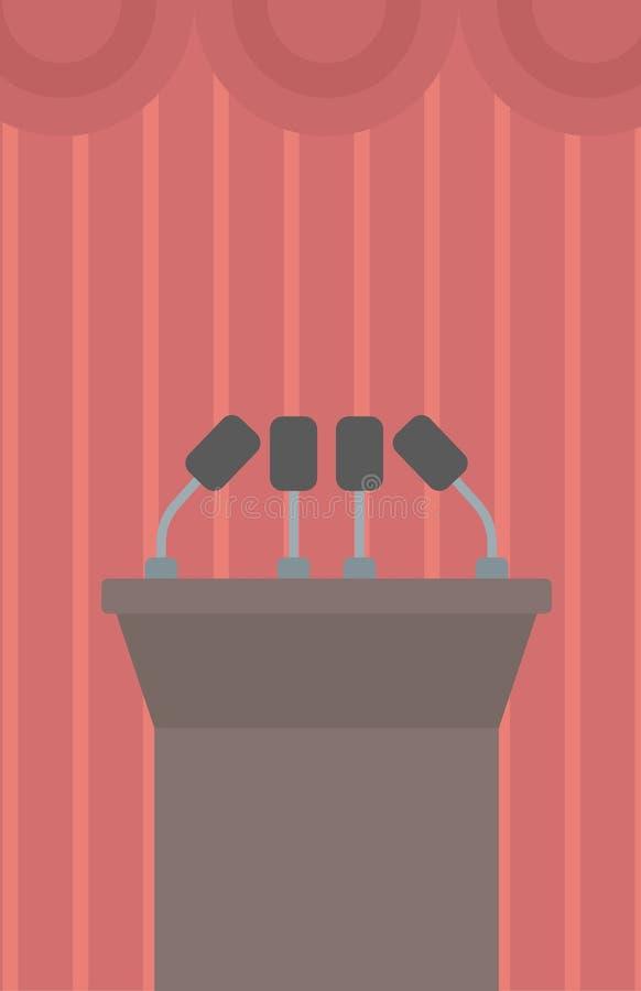 Bakgrund av tribunanförande med mikrofoner royaltyfri illustrationer