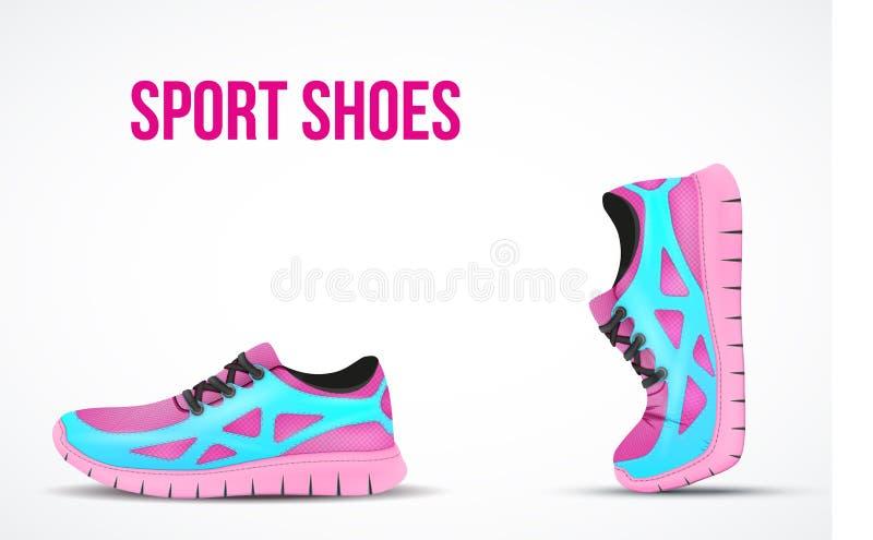 Bakgrund av två rinnande skor Ljus sport royaltyfri illustrationer