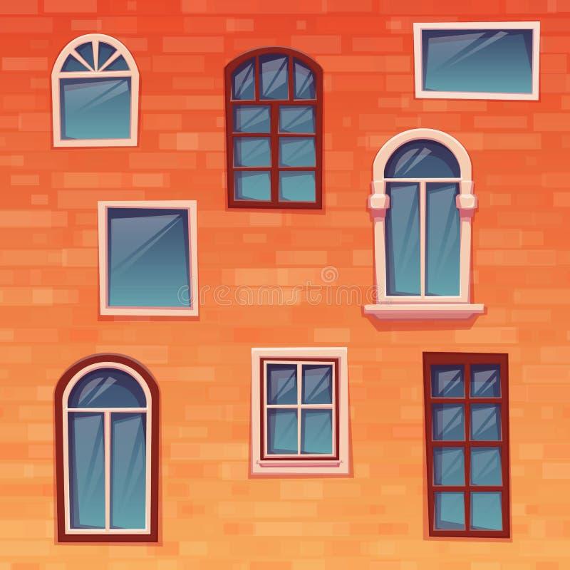 Bakgrund av väggen med fönster vektor royaltyfri illustrationer