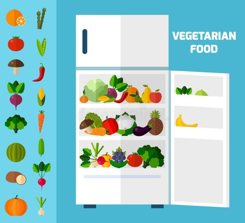 bakgrund bär fruktt grönsaker royaltyfri illustrationer