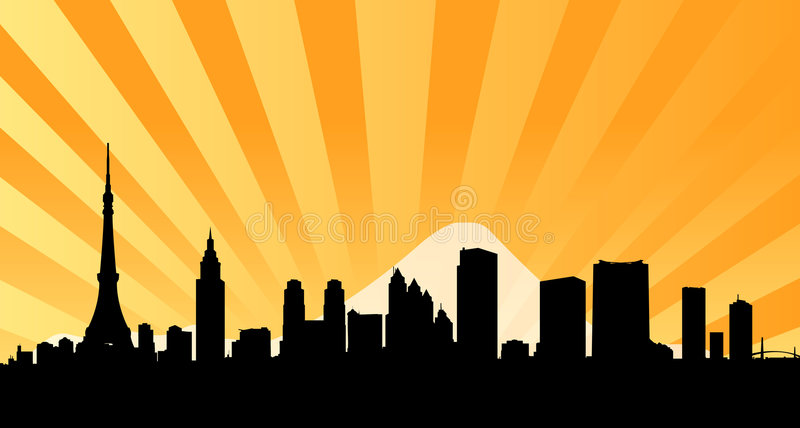 bakgrund beams stadshorisont tokyo vektor illustrationer