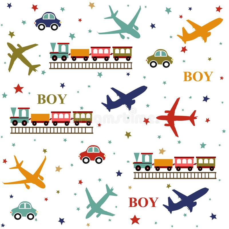 Bakgrund behandla som ett barn pojken, leksakermodell vektor illustrationer